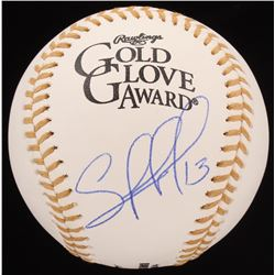 Salvador Perez Signed Gold Glove Award Baseball (JSA COA)