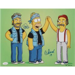 "Cheech Marin  Tommy Chong Signed ""The Simpsons"" 11x14 Photo Inscribed ""19"" (JSA Hologram)"