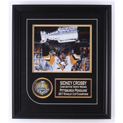 Sidney Crosby Signed Pittsburgh Penguins 1.75x16x20 Custom Framed Puck Display (Frameworth COA)