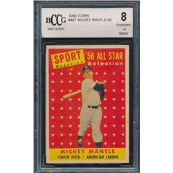 1958 Topps #487 Mickey Mantle All-Star (BCCG 8)