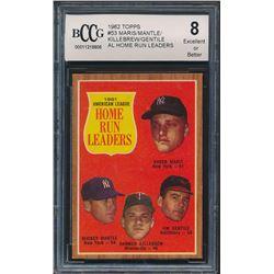 1962 Topps #53 AL Home Run Leaders / Roger Maris / Mickey Mantle / Jim Gentile / Harmon Killebrew (B