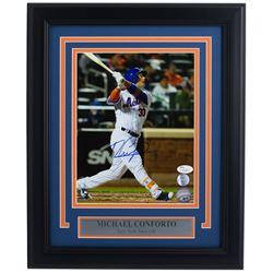 Michael Conforto Signed New York Mets 11x14 Custom Framed Photo Display (JSA COA  Lojo COA)