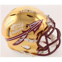 Chris Weinke, Jameis Winston  Charlie Ward Signed Florida State Seminoles Chrome Speed Mini-Helmet w