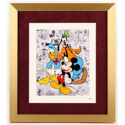 "Walt Disney's ""Mickey, Goofy  Donald Duck"" 16x18 Custom Framed Hand-Painted Animation Serigraph Disp"