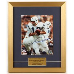 Johnny Unitas Signed Baltimore Colts 14x17 Custom Framed Photo Display (PSA COA)