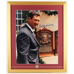 Ted Williams Signed 21x25 Custom Framed Photo Display with Hall of Fame Pin (PSA LOA  Williams Holog
