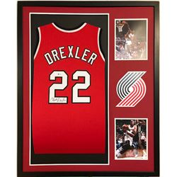 Clyde Drexler Signed 34x42 Custom Framed Jersey (Beckett COA)