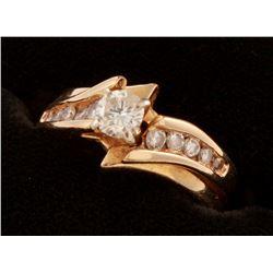 14k Yellow Gold  Diamond Two Piece Wedding Set Ring