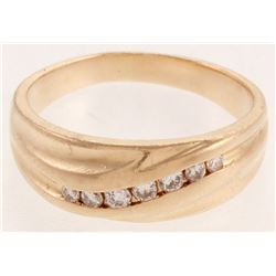 14kt Yellow  Gold Diamond Gentleman's Band Ring