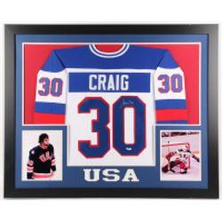 Jim Craig Signed 35x43 Custom Framed Jersey (JSA COA)