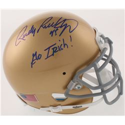 "Rudy Ruettiger Signed Notre Dame Fighting Irish Mini Helmet Inscribed ""Go Irish!"" (Beckett COA)"