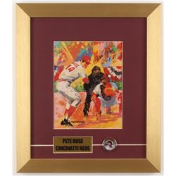 Pete Rose Signed  LeRoy Neiman  12x14 Custom Framed Print Display Inscribed  Hit King  with Colorize