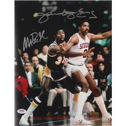 Julius  Dr. J  Erving  Magic Johnson Signed 11x14 Photo (PSA COA)