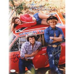 "Tom Wopat, John Schneider  Catherine Bach Signed ""The Dukes of Hazzard"" 11x14 Photo Inscribed ""Daisy"