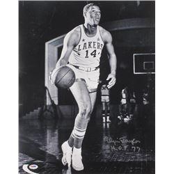 "Elgin Baylor Signed Los Angeles Lakers 16x20 Photo Inscribed ""H.O.F 77"" (PSA COA)"