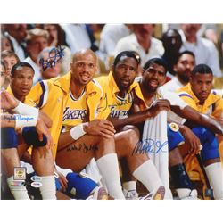 Los Angeles Lakers 16x20 Signed by (5) with Magic Johnson, Mychal Thompson, Byron Scott, James Worth