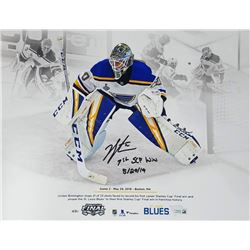 "Jordan Binnington Signed LE St. Louis Blues 11x14 Photo Inscribed ""1st SCF Win 5/29/19"" (Fanatics Ho"