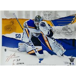 "Jordan Binnington Signed LE St. Louis Blues 11x14 Photo Inscribed ""1st SCF SO 5/19/19"" (Fanatics Hol"