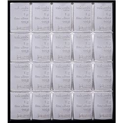 Lot of (20) 1 Gram Silver Valcambi Mint Bullion Bars (Uncut)