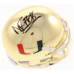 David Njoku Signed Miami Hurricanes Chrome Mini Helmet (JSA COA)