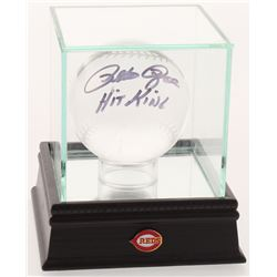 """Pete Rose Signed Lead Crystal Baseball Inscribed """"Hit King"""" with Display Case (PSA COA)"""