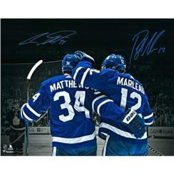 Auston Matthews  Patrick Marleau Signed Toronto Maple Leafs 16x20 Photo (Fanatics Hologram)