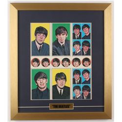 The Beatles 16x18.5 Custom Framed 1960's Original Uncut Proof Card Sheet