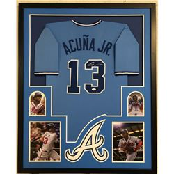 Ronald Acuna Jr. Signed Atlanta Braves 34x42 Custom Framed Jersey (JSA COA)