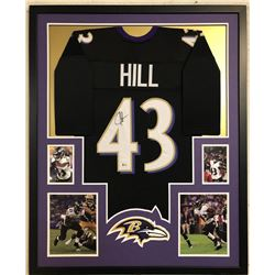 Justice Hill Signed 34x42 Custom Framed Jersey (Beckett COA)