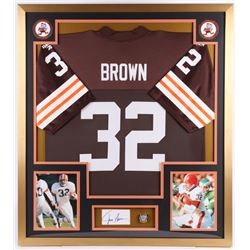 Jim Brown Signed Cleveland Browns 32x36 Custom Framed Cut Display with Replica Ring (BAS)