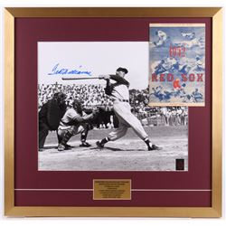 Ted Williams Signed Boston Red Sox 25x26 Custom Framed Photo Display with 1952 Program Score Card (W