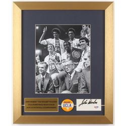 John Wooden Signed UCLA Bruins 14x17 Custom Framed Cut Display with Pin (PSA COA)