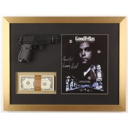 "Henry Hill Signed ""GoodFellas"" 17x22 Custom Framed Photo Display with Replica Gun  Prop Money Inscri"