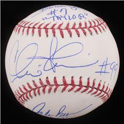"Charlie Sheen, Corbin Bernsen  Tom Berenger Signed OML Baseball Inscribed ""Taylor""  ""Dorn"" (Beckett"