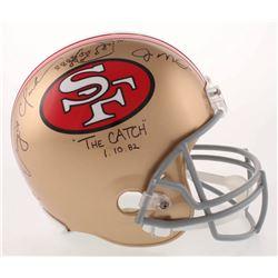 Joe Montana  Dwight Clark Signed San Francisco 49ers Full-Size Helmet with Original Hand-Drawn Play