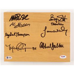 """""""Showtime"""" Los Angeles Lakers 7.5x10x1.5 Floor Board Piece Signed by (7) with Magic Johnson, Kareem"""