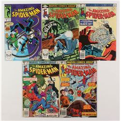 """Lot of (5) 1979-88 """"The Amazing Spider-Man"""" Marvel Comic Books with #195, #204, #205, #226,  #297"""