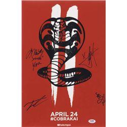 """""""Cobra Kai"""" 12x18 Photo Cast-Signed by (4) with Martin Kove, Xolo Mariduena, Tanner Buchanan  Mary M"""
