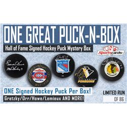 """""""One Great Puck-N-Box"""" – Hall of Fame Signed Hockey Puck Mystery Box"""