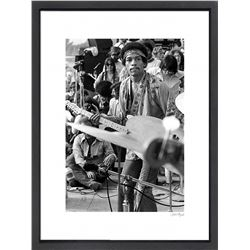 """Jimi Hendrix"" 16x20 Custom Framed Globe Hollywood Photo"