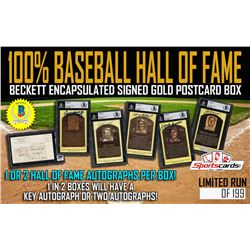 GOLD HALL OF FAME BASEBALL SIGNED/ENCAPSULATED POSTCARD MYSTERY BOX