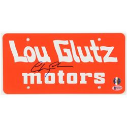 """Chevy Chase Signed """"National Lampoon's Vacation"""" Lou Glutz Motors License Plate (Beckett COA  Chase"""