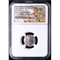 "Alexander III ""The Great"" 336-323 B.C. Kingdom of Macedon AR Drachm Ancient Greek Silver Coin - Mosa"