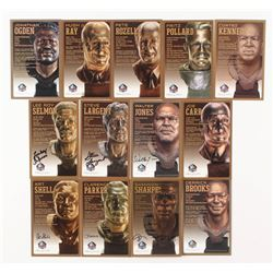Lot of (13) LE Bronze Bust Football Hall of Fame Postcards with (6) Signed with Art Shell, Walter Jo