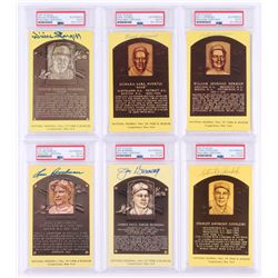 Lot of (6) Signed Gold HOF Postcards with Willie Stargell, Earl Averill, Billy Herman, Lou Boudreau,