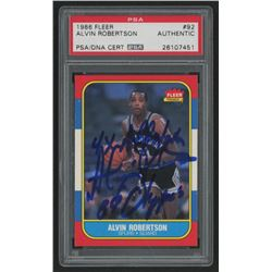 "Alvin Robertson Signed 1986-87 Fleer #92 Inscribed ""4x All-Star""  ""84 Olympics"" (PSA Encapsulated)"