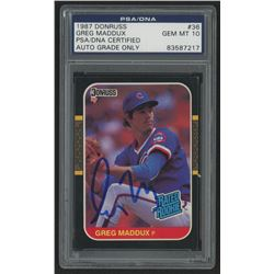 Greg Maddux Signed 1987 Donruss #36 RC (PSA Encapsulated)