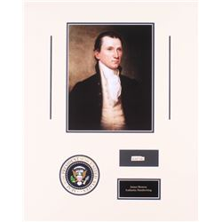 James Monroe 16x20 Custom Matted Cut Display with (1) Hand-Written Word from Letter (Beckett LOA Cop