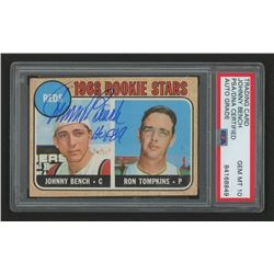 "Johnny Bench Signed 1968 Topps #247 Rookie Stars / Ron Tompkins Inscribed ""HOF 89"" (PSA Encapsulated"
