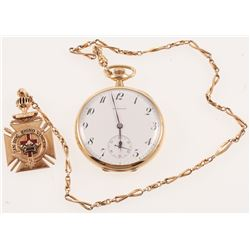 1907 14kt Yellow Gold E. Howard Co Pocket Watch with Display Case